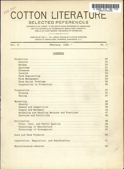 Cotton Literature PDF