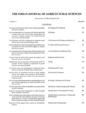 The Indian Journal of Agricultural Sciences PDF