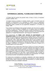 EXPERIENCIA LABORAL, FLEXIBILIDAD E IDENTIDAD