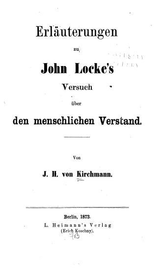Erl  uterungen zu John Locke s Versuch   ber den menschlichen Verstand PDF