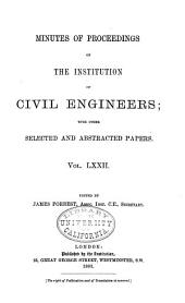 Minutes of Proceedings of the Institution of Civil Engineers: Volume 72