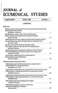 Journal of Ecumenical Studies PDF