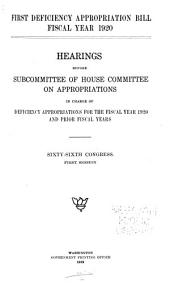 First Deficiency Appropriation Bill Fiscal Year 1920