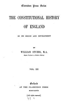 The Constitutional History of England  in Its Origin and Development PDF