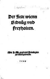 Der Stat wienn Ordnūg vnd Freyhaiten. (Augspurg, 12 Mart. 1526.) MS. notes