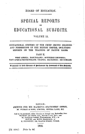 Special Reports on Educational Subjects: Volume 13