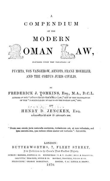 Download A Compendium of the Modern Roman Law Book