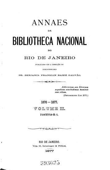 Hauptsacht  1 1876 77   50 1928  Annaes da Bibliotheca Nacional do Rio de Janeiro PDF