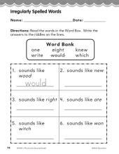 Second Grade Foundational Phonics Skills: Irregularly Spelled Words