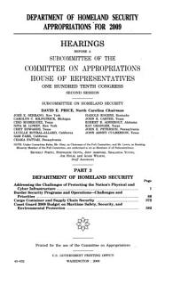 Department of Homeland Security Appropriations for 2009  Part 3  110 2 Hearings Book