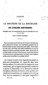 Opinion sur la doctrine et la discipline de l'Eglise réformée, exprimée dans le Consistoire de l'Eglise réformée de Paris le 8 avril 1853