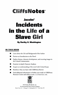 CliffsNotes on Jacob s Incidents in the Life of a Slave Girl PDF