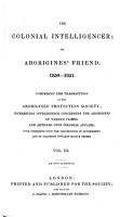 The Colonial Intelligencer  Or  Aborigines  Friend PDF