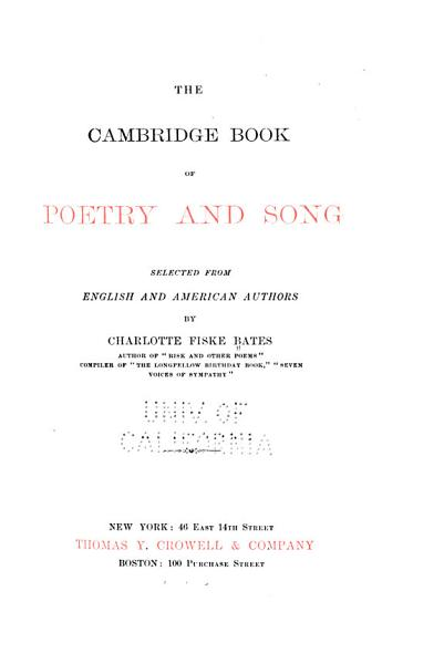 Download The Cambridge Book of Poetry and Song Book