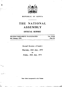 Kenya National Assembly Official Record  Hansard  PDF