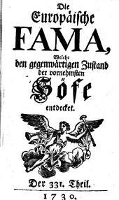 Die europäische Fama, welche den gegenwärtigen Zustand der vornehmsten Höfe entdecket: Band 331