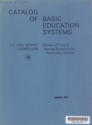 Catalog of Basic Educational Systems  Bureau of Training  Training Systems and Technology Division PDF
