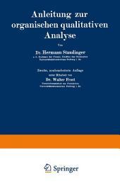 Anleitung zur organischen qualitativen Analyse: Ausgabe 2