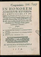 Congratulatio in Honorem admodum reverendi ... Antonii Fabritii ... cum in celeberrima et Catholica Boiorum Academia SS. Theologiae Doctor publicè ac solenniter crearetur