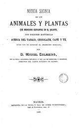 Noticia suscinta de los animales y plantas que mencionó Cervantes en el Quijote con nociones históricas acerca del tabaco, chocolate, café, y té, cuyo uso no conoció el ingenioso hidalgo