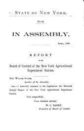 Annual Report of the Board of Control of the New York Agricultural Experiment Station: Issue 11