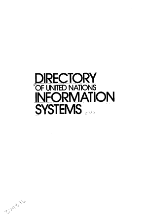 Directory of United Nations Information Systems PDF