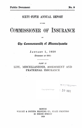 Annual Report of the Insurance Commissioner: Volume 65, Part 2