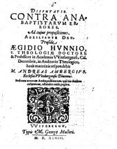 Disputatio. Contra Anabaptistarum Errores