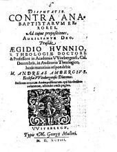 Disputatio. Contra Anabaptistarum Errores