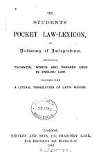 The Students  Pocket Law lexicon  Or  Dictionary of Jurisprudence PDF