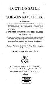 Dictionnaire des sciences naturelles: dans lequel on traite méthodiquement des différens êtres de la nature, considérés soit en eux-mêmes, d'après l'état actuel de nos connoissances, soit relativement à l'utilité qu'en peuvent retirer la médecine, l'agriculture, le commerce et les arts, suivi d'une biographie des plus célèbres naturalistes : ouvrage destiné aux médecins, aux agriculteurs, aux commerçans, aux artistes, aux manufacturiers, et à tous ceux qui ont intérêt à connoître les productions de la nature, leurs caractères génériques et spécifiques, leur lieu natal, leurs propriétés et leurs usages. Mad - Mana. 28