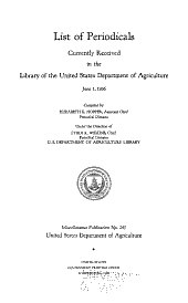 List of periodicals currently received in the library of the United States Department of agriculture June 1, 1936