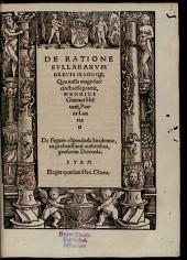 De Ratione Syllabarum Brevis Isagoge, Qua nulla magis succincta esse poterit