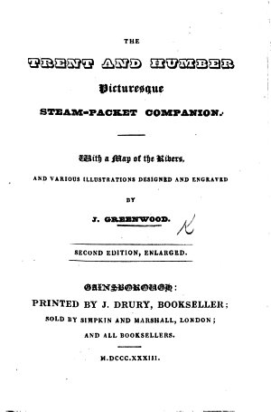 The Trent and Humber Picturesque Steam Packet Companion     Second Edition  Enlarged