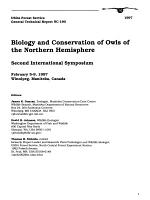 Biology and Conservation of Owls of the Northern Hemisphere