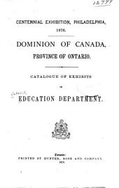 Catalogue of Exhibits in Education Department
