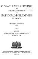 Zuwachsverzeichnis der Druckschriften der Nationalbibliothek in Wien PDF