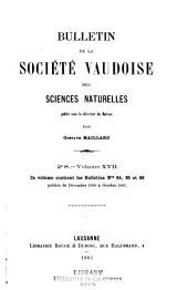 Bulletin de la Société vaudoise des sciences naturelles: Volume17
