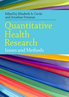 Quantitative Health Research  Issues And Methods PDF