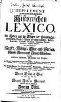 Supplement zu dem Baselischen allgemeinen Historischen Lexico0 PDF