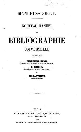 Nouveau manuel de bibliographie universelle par Messieurs Ferdinand Denis     P  Pin  on     et de Martonne PDF