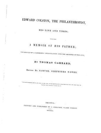 Edward Colston  the Philanthropist  His Life and Times PDF