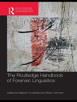 The Routledge Handbook of Forensic Linguistics PDF