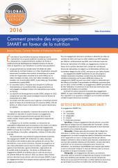 Comment prendre des engagements SMART en faveur de la nutrition: Rapport sur la nutrition mondiale note d'orientation