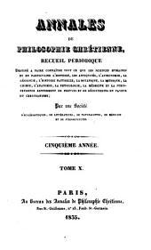 Annales de philosophie chrétienne: Volumes10à11