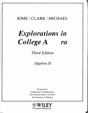 (WCS)College Algebra for San Francisco State University