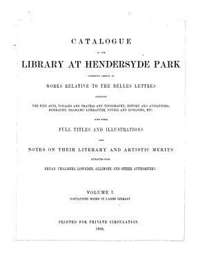 Catalogue of the Library at Hendersyde Park PDF