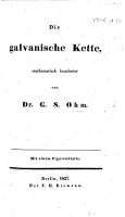 Die galvanische Kette  mathematisch bearbeitet PDF