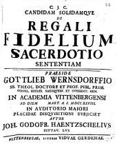 Candida solidamque de regali fidelium sacerdotio sententiam