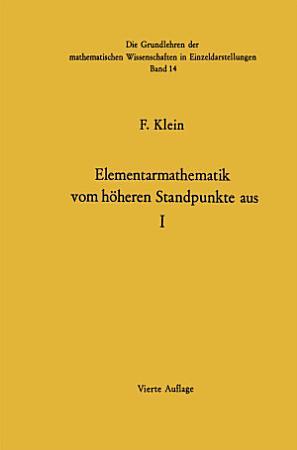Elementarmathematik Vom H  heren Standpunkte Aus PDF